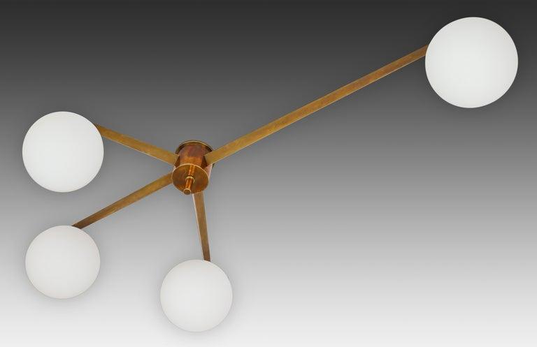 Brass Angelo Lelii for Arredoluce Stella Ceiling Light / Chandelier, circa 1960 For Sale