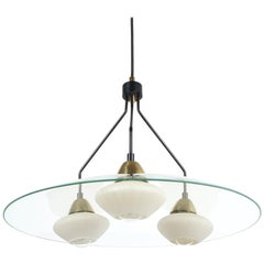 Angelo Lelii Style Ufo Chandelier Clear Glass Brass, Italy, circa 1955