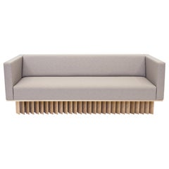 Angled Wood Bar Sofa in Gray and Oiled Oak by Early Work