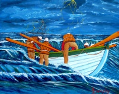 Lifeboat Rescuers, Painting, Acrylic on Canvas
