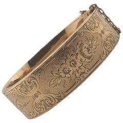 Antique 14 Karat Gold Child Sized Bangle Bracelet, circa 1880