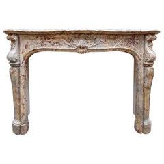 Antique 19th Century Sarrancolin Marble Louis XIV Trois Coquilles Fireplace