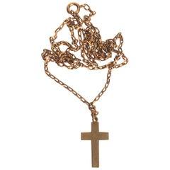 Antique 9 Carat Rose Gold Cross Pendant Necklace