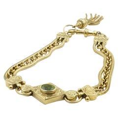 Antique 9 Carat Yellow Gold and Peridot Albertina Chain Bracelet