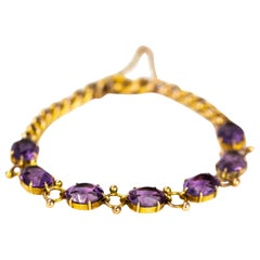 Antique Amethyst and 9 Carat Gold Bracelet