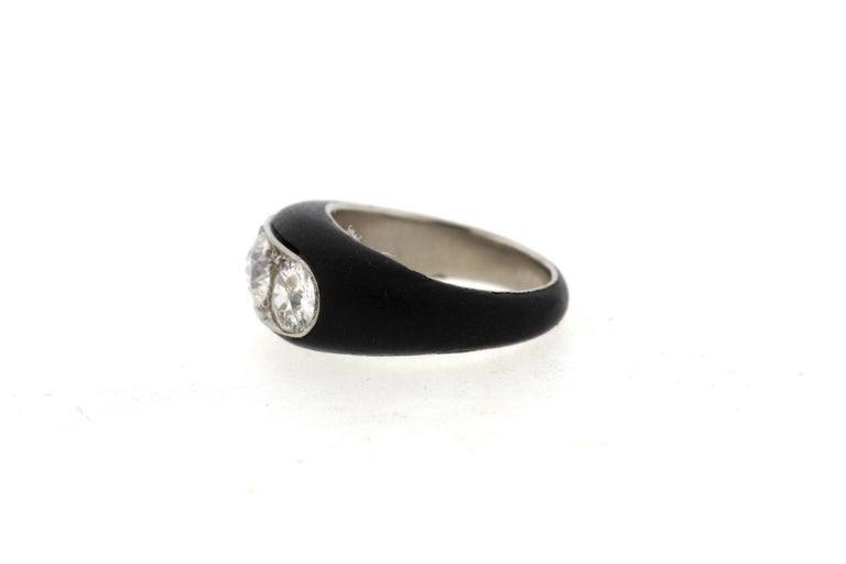 Antique Art Deco Platinum Ebony Three-Stone Diamond Ring For Sale 2