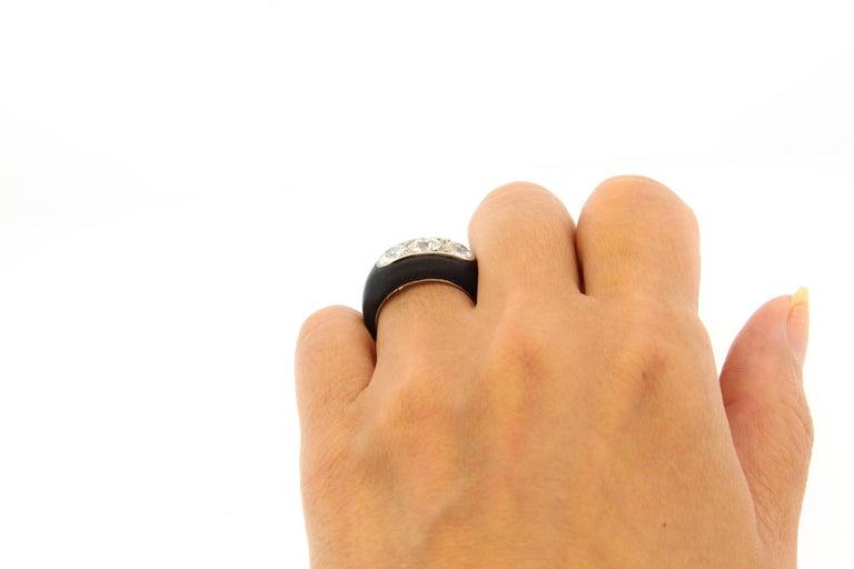 Antique Art Deco Platinum Ebony Three-Stone Diamond Ring For Sale 3