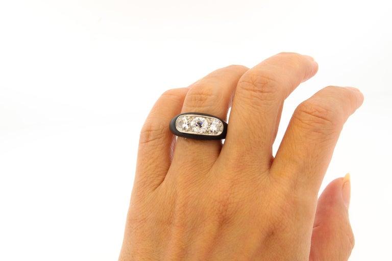 Antique Art Deco Platinum Ebony Three-Stone Diamond Ring For Sale 4