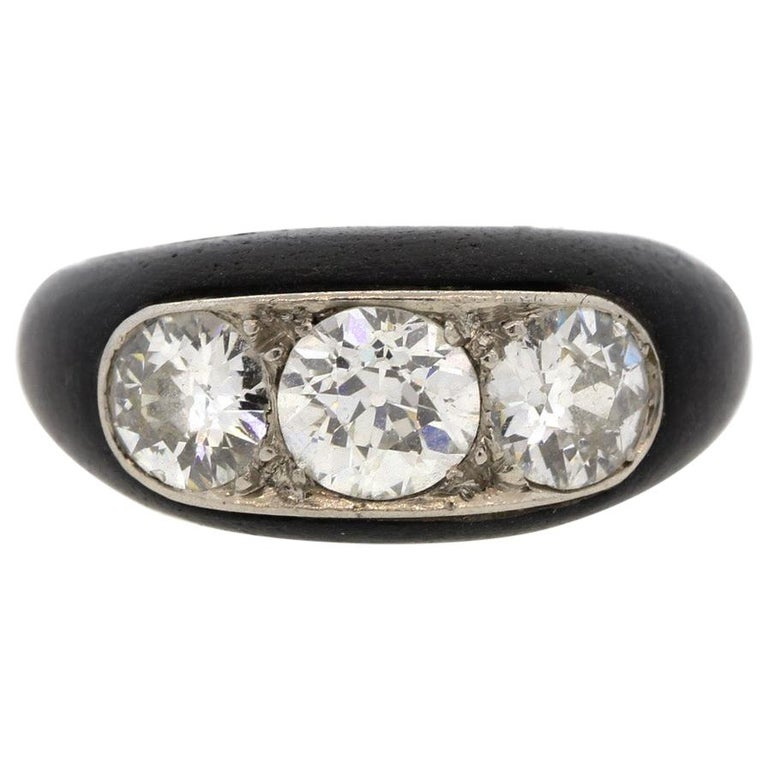 Antique Art Deco Platinum Ebony Three-Stone Diamond Ring For Sale