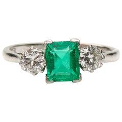 Antique, Art Deco, Platinum, Emerald and Diamond Three-Stone Engagement Ring