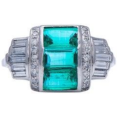 Antique, Art Deco, Platinum, Natural Colombian Emerald and Diamond Ring