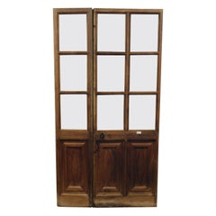 Antique Asymmetrical Glass Door, in 2 Walnut Wings with Carved Lozenges, Italy