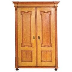 Antique Austrian Neoclassic Wardrobe Cupboard in Massive Wood Laquered Faux Wood