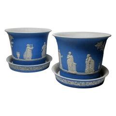 Antique Blue Wedgwood Jasper Ware Jardinières Mythological Classical Scenes 1861