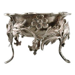 Antique Bowl in Plated Silver Decorated with Flowers and Foliage