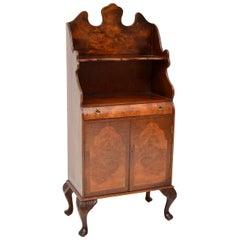 Antique Burr Walnut Open Bookcase Cabinet