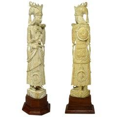 Antique Bone Figure of Indochina Male Dignitary Hardwood  19th Century Chinese