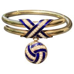 Antique Celtic Eternity Knot Symbol Orient Pearls 15 Karat Gold Bracelet Locket
