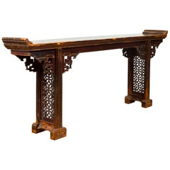 Antique Chinese Qing Altar Table with Hand Carved Spandrels and Dark Patina