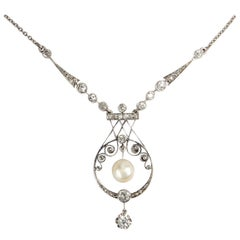 Antique Diamond and Natural Pearl Platinum on Gold Necklace, Russia, circa 1910