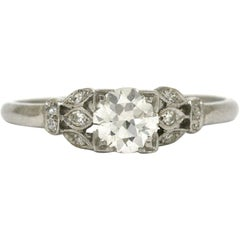 Antique Diamond Solitaire Engagement Ring Platinum GIA Certified 3/4 Carat