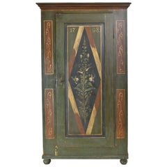 Antique Dowry/Wedding Armoire with Green and Maroon Paint and Floral Design