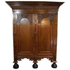 Antique Dutch Renaissance Oak and Rosewood Cabinet