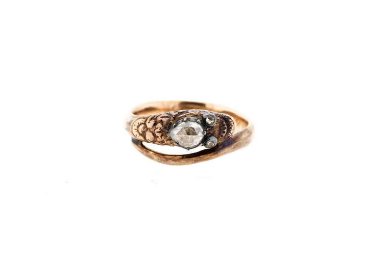 Antique Early Victorian 18 Karat Gold Rosecut Diamond Snake Ring For Sale 5
