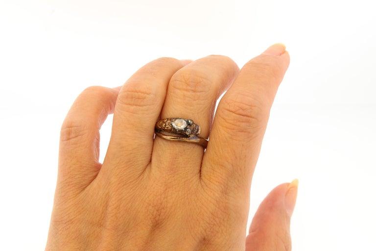 Rose Cut Antique Early Victorian 18 Karat Gold Rosecut Diamond Snake Ring For Sale