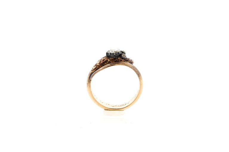 Antique Early Victorian 18 Karat Gold Rosecut Diamond Snake Ring In Good Condition For Sale In New York, NY