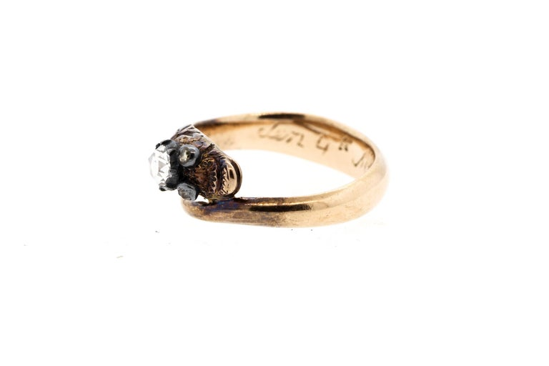 Antique Early Victorian 18 Karat Gold Rosecut Diamond Snake Ring For Sale 2