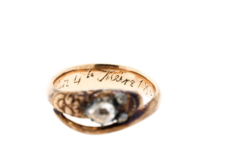 Antique Early Victorian 18 Karat Gold Rosecut Diamond Snake Ring For Sale 4