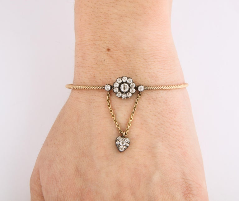Antique Early Victorian Diamond Bracelet with Heart Drop In Excellent Condition For Sale In Stamford, CT
