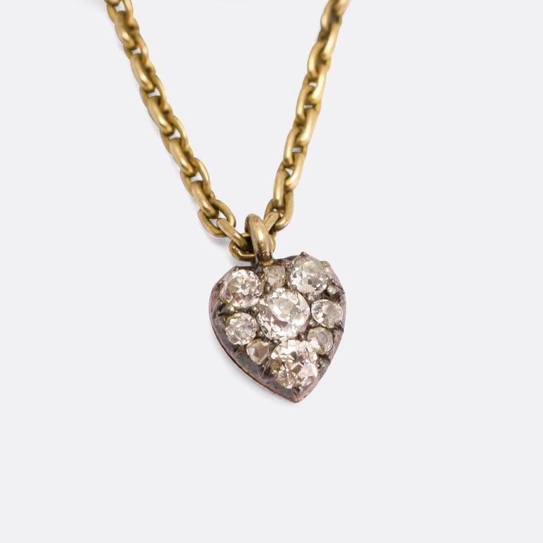 Women's Antique Early Victorian Diamond Bracelet with Heart Drop For Sale