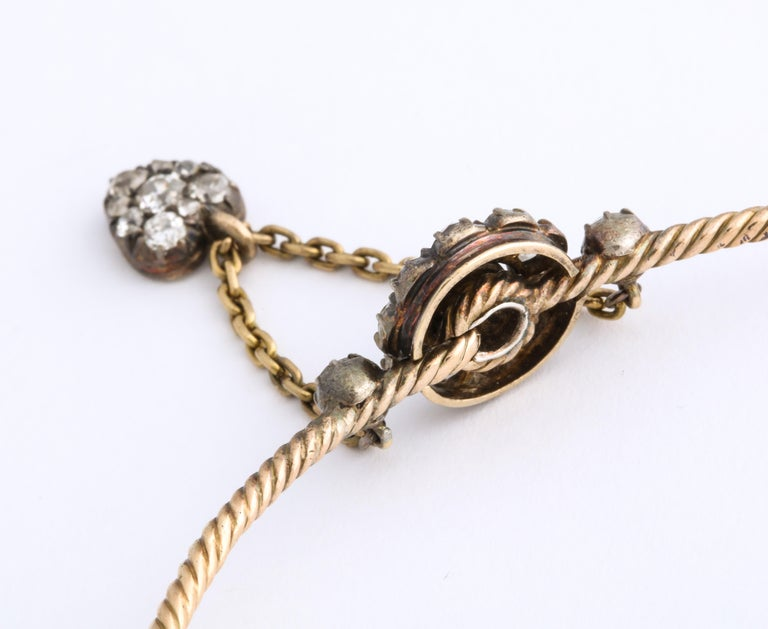 Antique Early Victorian Diamond Bracelet with Heart Drop For Sale 2