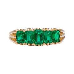 Antique, Edwardian, 18 Carat Yellow Gold, Emerald Five Stone Ring