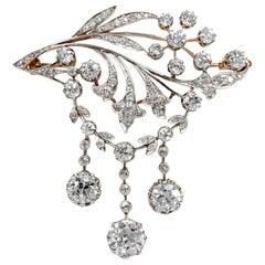 Antique Edwardian circa 1900 Certified 5.93 Carat Diamond Garland Style Brooch