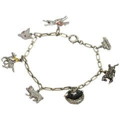 Antique Edwardian Handmade Gold Platinum Collectible Charm Bracelet