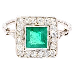 Antique Emerald Diamond Platinum Ring