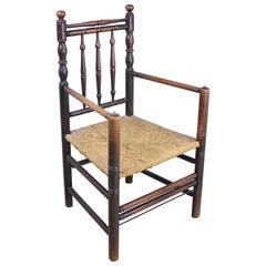Antique English Oak Carver's Chair For Sale