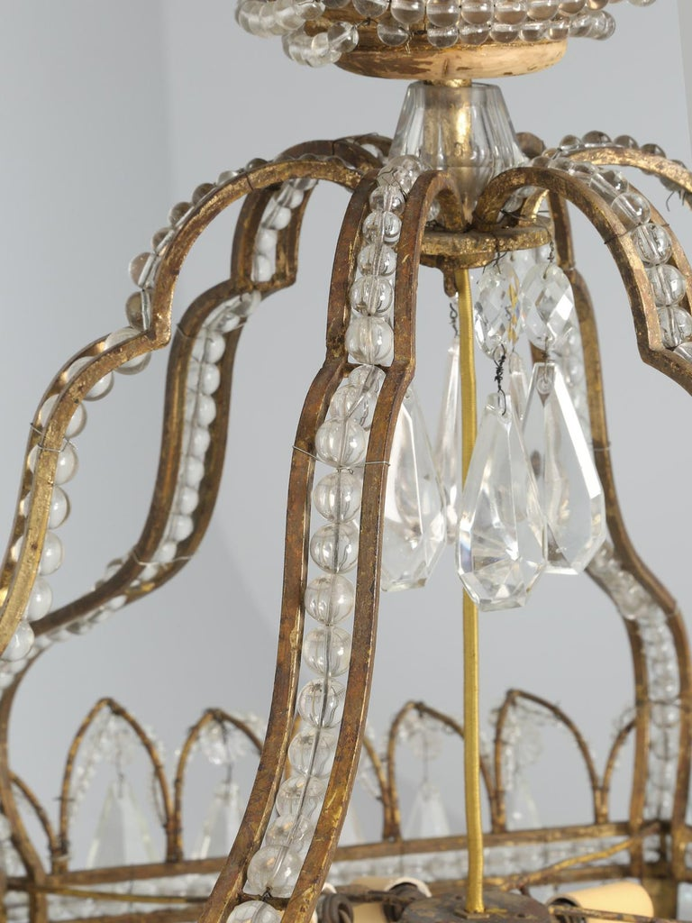 Antique Exceptional Six-Light Italian Chandelier with Original Canopy For Sale 2