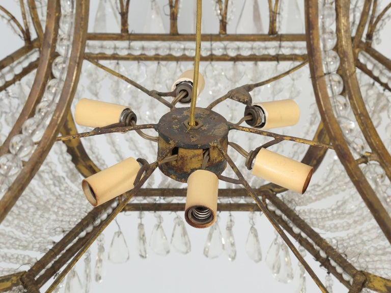 Antique Exceptional Six-Light Italian Chandelier with Original Canopy For Sale 3