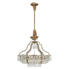 Antique Exceptional Six-Light Italian Chandelier with Original Canopy