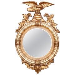 Antique Figural Giltwood Federal Style Bullseye Wall Mirror, 20th Century