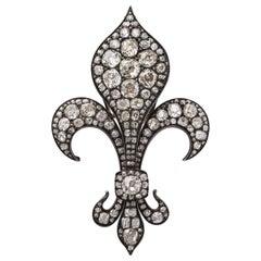 Antique Fleur de Lis Diamond Gold Pendant Brooch