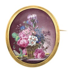 18K Gold 1860 Flower Still Life Miniature Painting Music Flute Porcelain Brooch