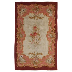 Antique French Aubusson Rug, Wool, Traditional Pinks and Reds 1900