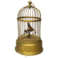 Antique French Automaton Singing Bird in Brass Cage, Music Box, circa 1880