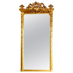Antique French Classical Baroque Style Figural Giltwood Pier Mirror, circa 1880