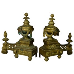 Antique French Empire Figural Bronze Urn and Flame Form Fireplace Andirons